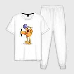 Пижама хлопковая мужская Котопес цвета белый — фото 1