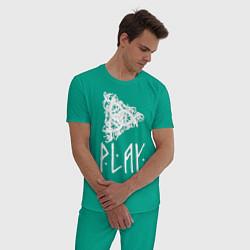 Пижама хлопковая мужская Рингерике Play цвета зеленый — фото 2