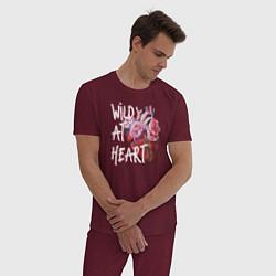 Пижама хлопковая мужская Wild at heart цвета меланж-бордовый — фото 2