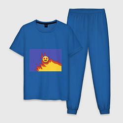 Пижама хлопковая мужская Ты горишь как огонь v1 цвета синий — фото 1