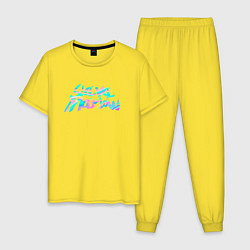 Пижама хлопковая мужская Slawa Marlow цвета желтый — фото 1