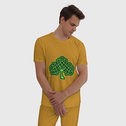 Пижама хлопковая мужская Кельтский клевер цвета горчичный — фото 2