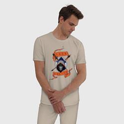 Пижама хлопковая мужская Taskmaster цвета миндальный — фото 2