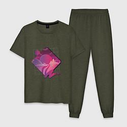 Пижама хлопковая мужская Пейзаж в стиле Retrowave цвета меланж-хаки — фото 1