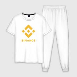 Пижама хлопковая мужская BINANCE БИНАНС БИРЖА цвета белый — фото 1