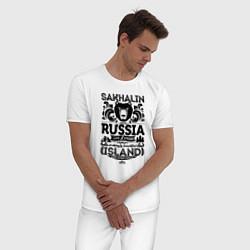 Пижама хлопковая мужская Сахалин Остров Экстрим цвета белый — фото 2