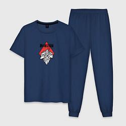Пижама хлопковая мужская Стальной Алхимик цвета тёмно-синий — фото 1