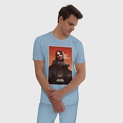 Пижама хлопковая мужская RDR цвета мягкое небо — фото 2