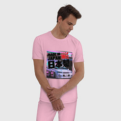 Пижама хлопковая мужская JDM цвета светло-розовый — фото 2