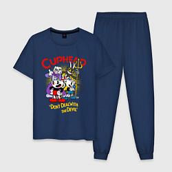 Пижама хлопковая мужская Cuphead, главные герои цвета тёмно-синий — фото 1