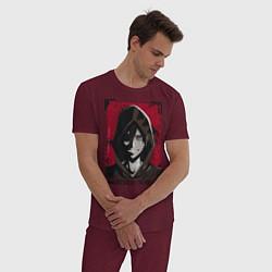 Пижама хлопковая мужская Ангел кровопролития цвета меланж-бордовый — фото 2