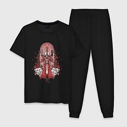 Пижама хлопковая мужская Данте в розах цвета черный — фото 1