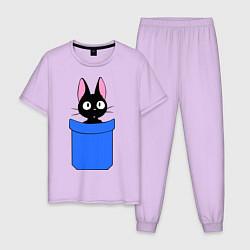 Пижама хлопковая мужская Котенок в кармане цвета лаванда — фото 1