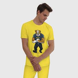 Пижама хлопковая мужская ПИТБУЛЬ SECURITY Z цвета желтый — фото 2