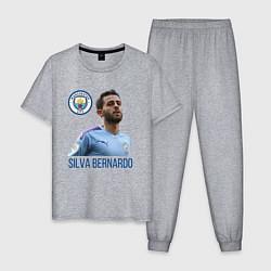 Пижама хлопковая мужская Silva Bernardo Манчестер Сити цвета меланж — фото 1