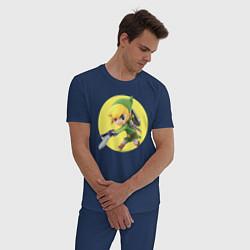 Пижама хлопковая мужская Линк цвета тёмно-синий — фото 2