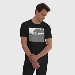 Пижама хлопковая мужская NOTHING цвета черный — фото 2