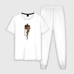 Пижама хлопковая мужская Змея и меч цвета белый — фото 1