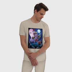 Пижама хлопковая мужская Wendy love flower цвета миндальный — фото 2