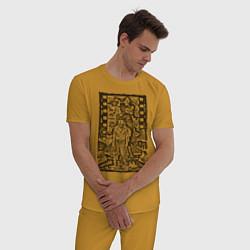 Пижама хлопковая мужская Filmstrip цвета горчичный — фото 2