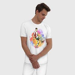 Пижама хлопковая мужская Роналду 07 Сборная Португалии цвета белый — фото 2
