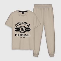 Пижама хлопковая мужская Chelsea Football Club цвета миндальный — фото 1