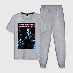 Пижама хлопковая мужская Арнольд Шварценеггер цвета меланж — фото 1