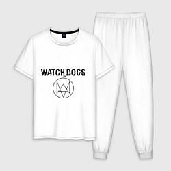 Пижама хлопковая мужская Watch Dogs цвета белый — фото 1