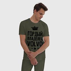 Пижама хлопковая мужская Гордый владелец Volvo цвета меланж-хаки — фото 2