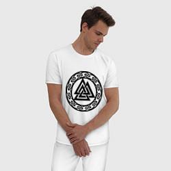 Пижама хлопковая мужская Валькнут - символ Одина цвета белый — фото 2