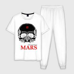 Пижама хлопковая мужская 30 STM: Skull цвета белый — фото 1