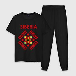 Пижама хлопковая мужская Русский орнамент цвета черный — фото 1