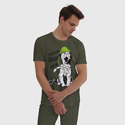 Пижама хлопковая мужская Вежливый котик цвета меланж-хаки — фото 2
