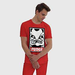 Пижама хлопковая мужская Pudge Poster цвета красный — фото 2