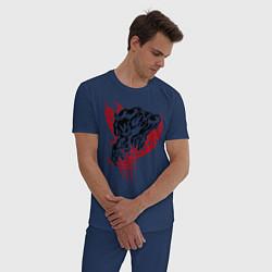 Пижама хлопковая мужская Свирепый оборотень цвета тёмно-синий — фото 2