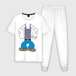 Пижама хлопковая мужская Тело морячка цвета белый — фото 1