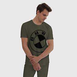 Пижама хлопковая мужская БМВ значок цвета меланж-хаки — фото 2