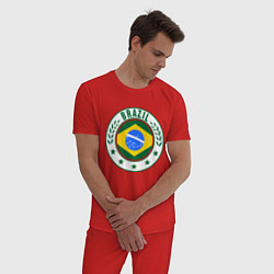 Пижама хлопковая мужская Brazil 2014 цвета красный — фото 2