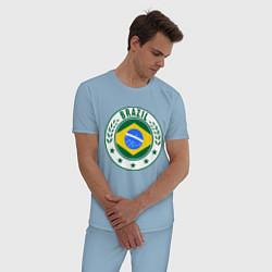 Пижама хлопковая мужская Brazil 2014 цвета мягкое небо — фото 2