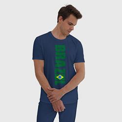 Пижама хлопковая мужская Brazil Football цвета тёмно-синий — фото 2