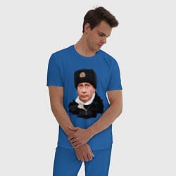 Пижама хлопковая мужская Путин военный цвета синий — фото 2