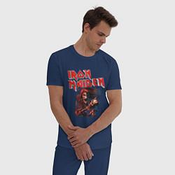Пижама хлопковая мужская Iron Maiden цвета тёмно-синий — фото 2
