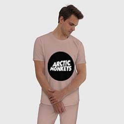 Пижама хлопковая мужская Arctic Monkeys Round цвета пыльно-розовый — фото 2