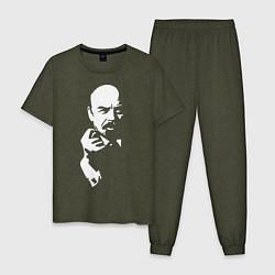 Пижама хлопковая мужская Ленин: фигу вам цвета меланж-хаки — фото 1