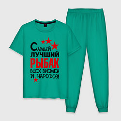 Пижама хлопковая мужская Самый лучший рыбак цвета зеленый — фото 1