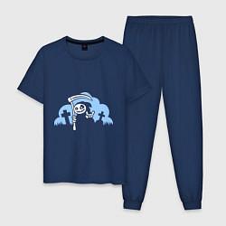Пижама хлопковая мужская Веселая смерть цвета тёмно-синий — фото 1
