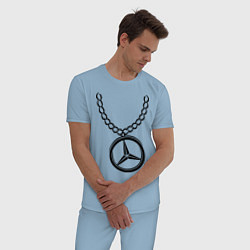 Пижама хлопковая мужская Мерседес медальон цвета мягкое небо — фото 2
