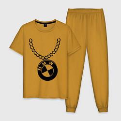 Пижама хлопковая мужская БМВ медальон цвета горчичный — фото 1