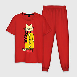 Пижама хлопковая мужская Киса в пальто цвета красный — фото 1