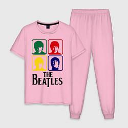 Пижама хлопковая мужская The Beatles: Colors цвета светло-розовый — фото 1